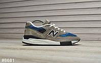 Кроссовки мужские New Balance 998 в стиле Нью Баланс, замша, текстиль код TD-8681. Серые с синим