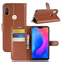 Чехол-книжка Litchie Wallet для Xiaomi Redmi Note 6 Pro Коричневый