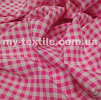 Софт стрейч клетка 5 мм. Розовый с белым