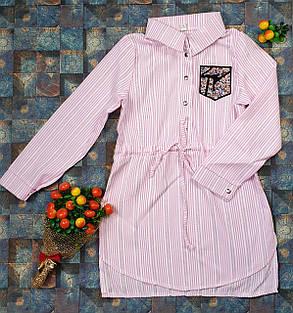 Платье-рубашка в полоску для девочек   116-134, розовый, фото 2