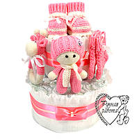 Торт з підгузників. Торт з памперсів, пінетки, шкарпетки, брязкальце, пупс. 0 - 2 місяці, рожевий