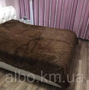 Покривало хутряний плед травичка ALBO 160х200 cm Шоколадне (P-b04-2)