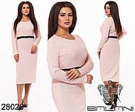 Мягкое повседневное платье в рубчик с кружевом на талии с 48 по 58 размер, фото 1
