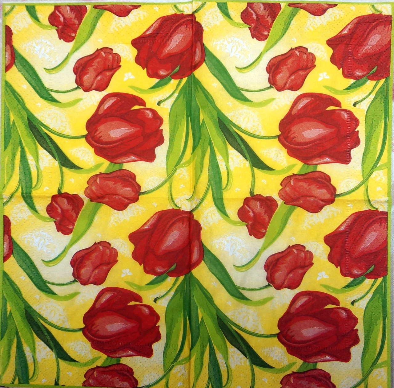 "Салфетка декупажная 25Х25 см 5 ""Тюльпаны на желтом фоне"""