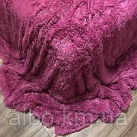 Покривало хутряний плед Травичка ALBO 160х200 см Малинове (P-a09-2), фото 9