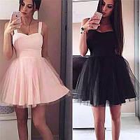 Шикарное коктейльное платье пышное с фатиновой юбкой