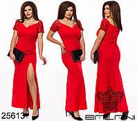 Облегающее длинное платье с глубоким декольте и разрезом впереди с 48 по 50 размер, фото 1