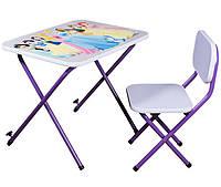 Стол-парта со стульчиком для детей Принцессы фиолетовый