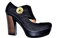 Туфли замшевые женские черные Турция весна осень натуральная кожа