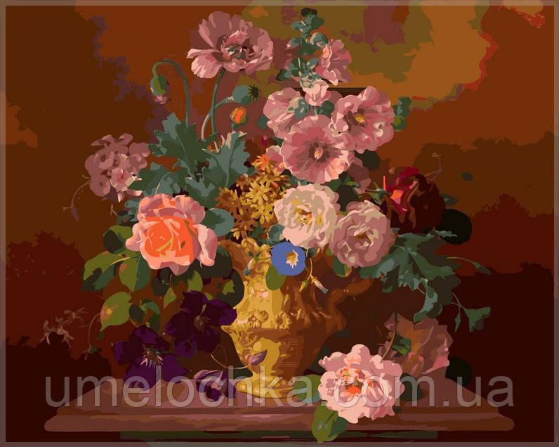 Раскраска по номерам Babylon  Букет цветов в вазе