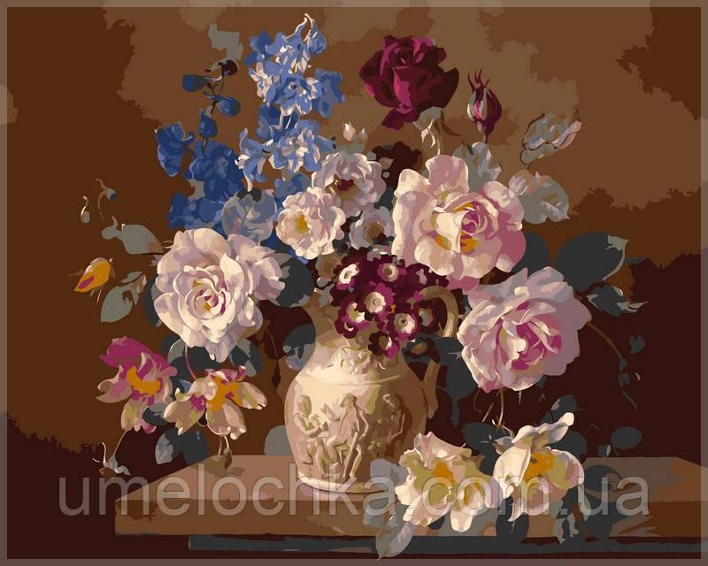 Картина по номерам Babylon Цветы в скульптурной вазе