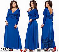 Трикотажное платье с глубоким декольте и драпировкой на талии с 50 по 58 размер, фото 1
