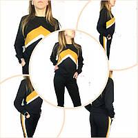 Костюм женский трикотажный  модный молодежный Турция р-р 42-48(xs-l),черный