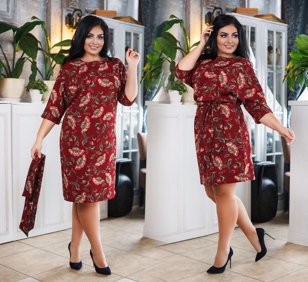 """Элегантное женское платье в больших размерах 0243 """"Креп Цветы Кармашки"""" в расцветках"""