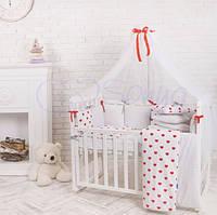 Постельный комплект в детскую кроватку Бэби дизайн Сердца красные (7 предметов)