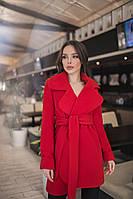 Женское короткое кашемировое пальто на запах красное. Хит сезона!