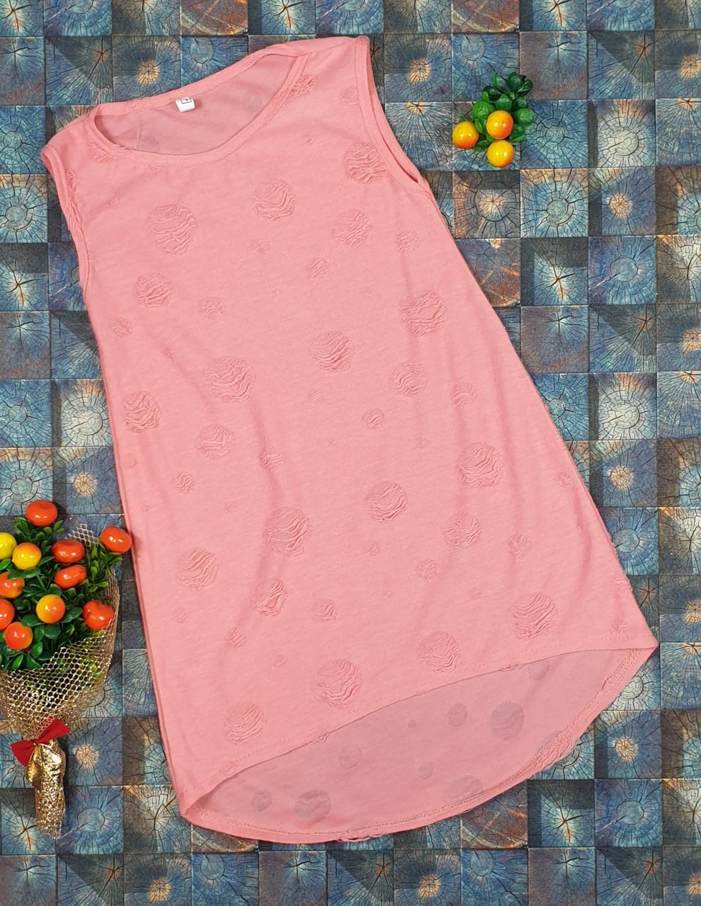 Летний простой сарафан для девочки  р.110-122 розовый горох