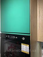 Кухня зеленая с шпоном дуба галифакса натурального., фото 1
