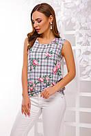Блузка летняя женская без рукавов в клетку размер 42