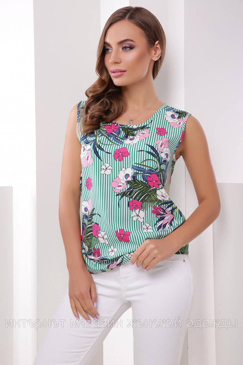 Блуза 1613 зеленая полоса