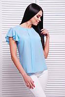 Блузка летняя женская с рукавом-воланом свободного кроя голубая, фото 1