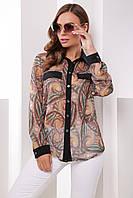 Красивая шифоновая блузка рубашка с длинным рукавом и цветочным принтом Размер 42 44 46