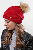 Женская молодежная вязаная с отворотом шапка с помпоном красная