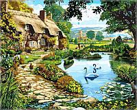 Картина по номерам на холсте Babylon Коттедж у озера
