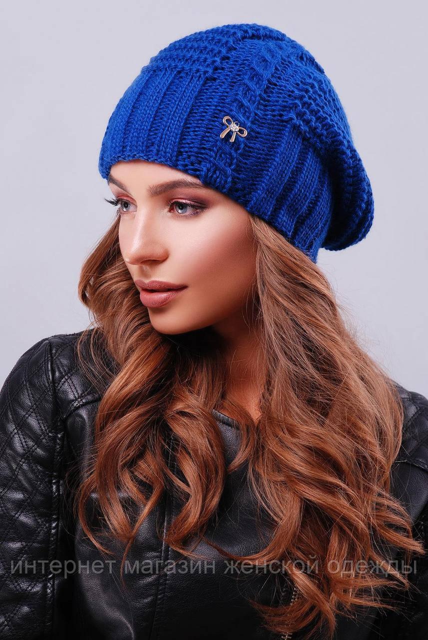 Модная женская вязаная шапка с напуском цвета электрик