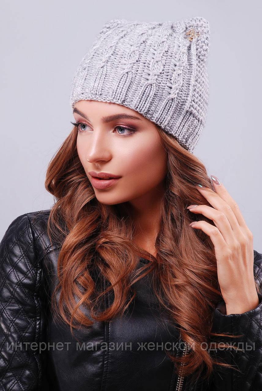 Стильная женская вязаная шапка с ушками в косичку темно-серая