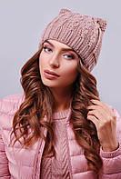 Стильная женская вязаная шапка с ушками в косичку