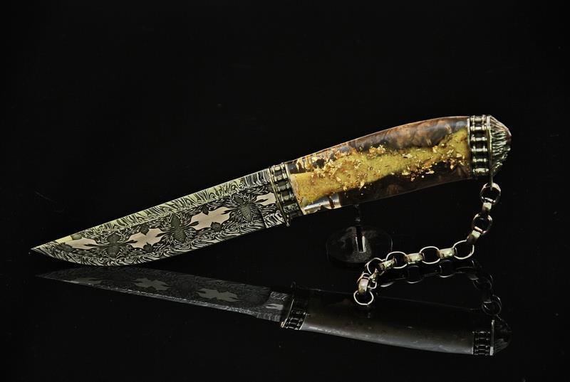 """Коллекционный нож ручной работы """"Ghost rider-2"""", мозаичный дамаск"""
