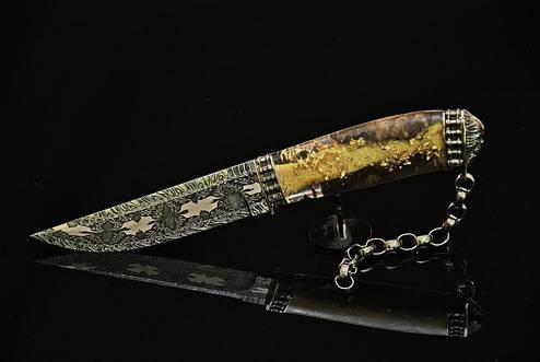 """Коллекционный нож ручной работы """"Ghost rider-2"""", мозаичный дамаск, фото 2"""
