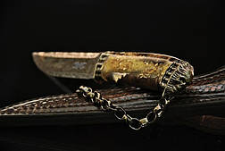 """Коллекционный нож ручной работы """"Ghost rider-2"""", мозаичный дамаск, фото 3"""