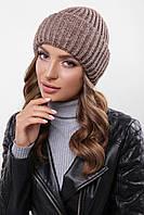 Теплая женская вязаная шапка с отворотом кофейный меланж