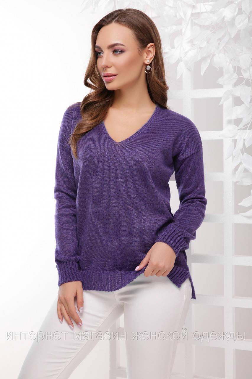 Женский джемпер на осень с треугольным вырезом фиолетовый