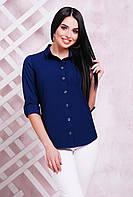 Женская рубашка на пуговицах из блузочной ткани темно-синяя