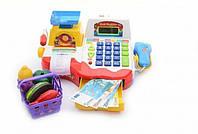 Кассовый аппарат детский игровой набор касса магазина 7162 на батарейках, сканер, весы, карточка, корзинка, пр