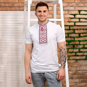 Трикотажная мужская футболка с красной вышивкой