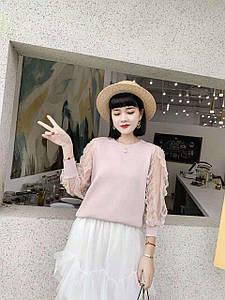 Красивый женский пуловер с гипюром (в расцветках)