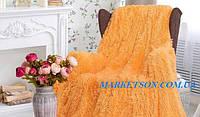 Покрывало плед травка 220х240 бамбуковое меховое пушистое с длинным ворсом Koloco Оранжевый