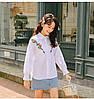 Классическая белая женская рубашка с вышивкой 44-46, фото 5