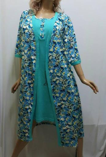 """Комплект женский халат и ночная рубашка на широкой брете хлопок, """"Большое сердце"""", размер от 48 до 52, Харьков"""