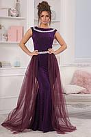Вечернее платье в пол из люрекса с сеткой