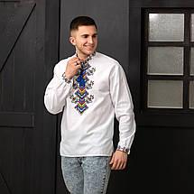 Чоловіча біла вишиванка на домотканному полотні Доля, фото 3