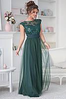 Женское платье в пол, вышивка на сетке и сетка