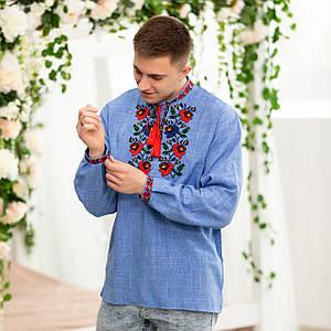 Чоловіча джинсова сорочка з вишивкою Мальва