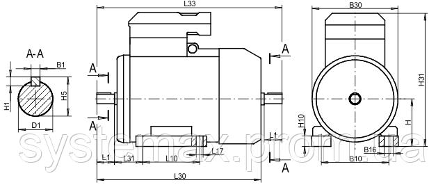 4ВР 132М6 ― IM1081 на лапах (габаритные и установочные размеры)