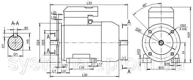 4ВР 132М6 ― IM2081, IM3081 комбинированный (габаритные и установочные размеры)