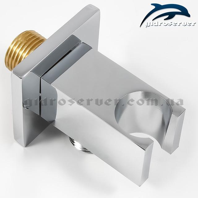 Шланговое подключение с держателем для лейки ручного душа UD-15 изготовлено из латуни.